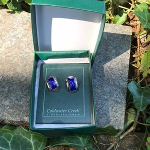 Coldwater Creek Faux Blue Silver Stud Earrings 925